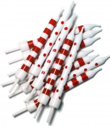 Küünlad punase-valged (12 tk)
