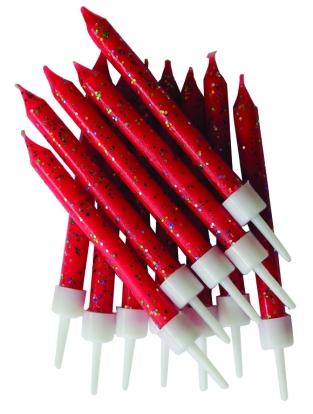 Küünlad, punased läikivad (12 tk)