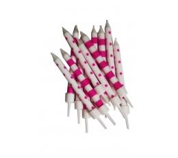 Küünlad, roosa - valged (12 tk)
