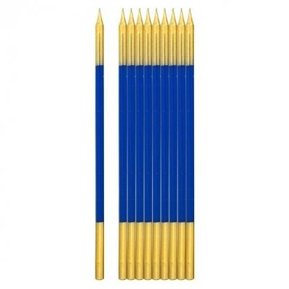 Küünlad, sinised-kuldsed  (10 tk / 15 cm)