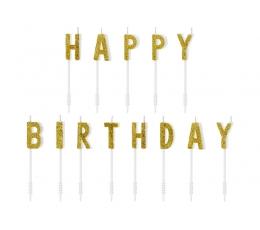 """Küünlad/suupistetikud """"Happy Birthday"""", kuldne"""