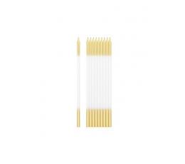 Küünlad, valge-kuldsega (10 tk / 15 cm)