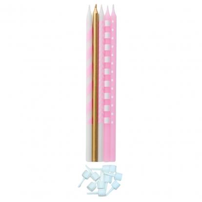 Küünlakomplekt, roosa läikiv (10 tk / 15,5 cm)