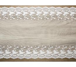 Lauakaunistus/lina kootud, valge (45x900 cm)