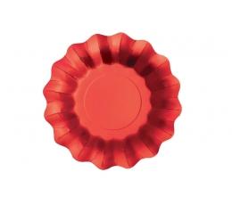 Taldrikud - lilled, punased läikivad (8 tk. 21 cm)