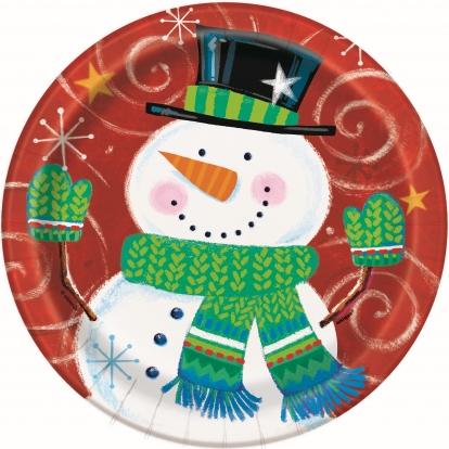 "Taldrikud ""Lõbus lumememm"" (8 tk./18 cm)"