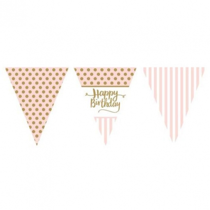 "Lippude vanik ""Happy Birthday"", roosakas kuldne (3,7 m)"