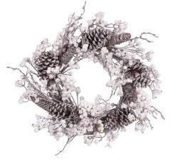 Jõulupärg männikäbide ja valgete marjadega (55 cm) 1