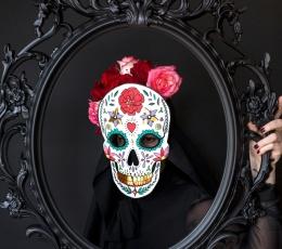 """Mask """"Dia de los Muertos"""", valge 1"""