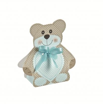 "Mini dovanų dėžutė-dekoracija ""Meškutis su melsvu kaspinėliu"" (6X4X1,2 cm)"