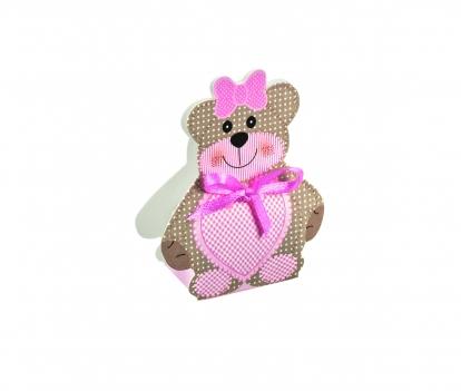 """Mini kinkekarp-dekoratsioon """"Mõmmi"""", roosa (6X4X1,2 cm)"""