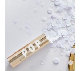 Mini konfeti patranka, auksinė su baltais apskritimais (15 cm)