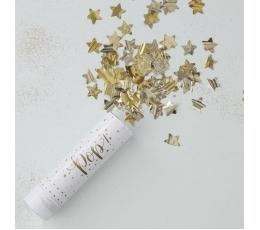"""Mini konfetikahur """"Kuldsed tähed"""" (15 cm)"""