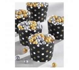 Mini suupistetopsid, mustad /täpilised(36 tk)