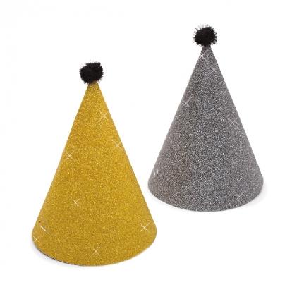 Mütsid, kuldsed-grafiidivärvi, läikivad (6 tk.)