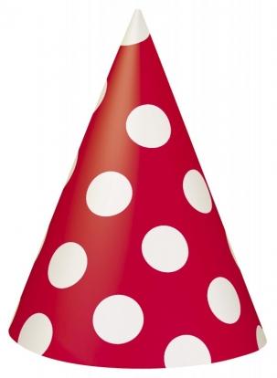 Mütsid, punased-täppidega (8 tk)
