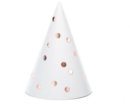 Mütsid, valged roosa kuldsete täppidega (6 tk.)
