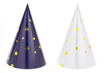 Mütsid, valged/tumesinised tähekestega (6 tk.)