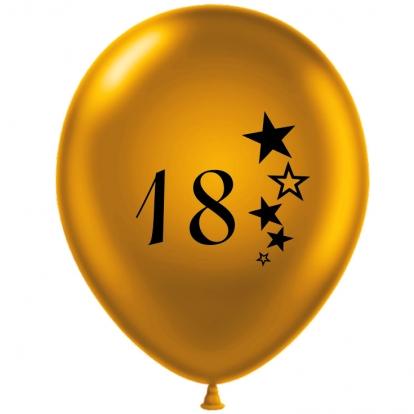 "Õhupall ""18"", kuldne-mustaga (30 cm)"