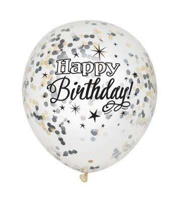 """Õhupall """"Happy Birthday"""", mustade ja kuldsete konfettidega (6tk.)"""