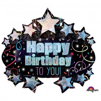 """Õhupall """"Happy Birthday stars"""" (78x71 cm)"""
