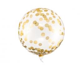Õhupall, ümmargune läbipaistev kuldsete ringidega (40 cm)