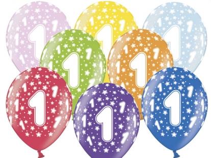 """Õhupallid """"1"""", värvilised, pärlmutter (6 tk / 30 cm)"""