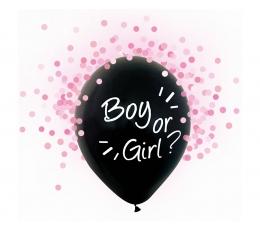 "Õhupallid ""Boy or Girl?"", roosade konfettidega (4 tk/30 cm)"