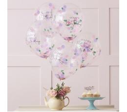 """Õhupallid """"Happy Birthday"""" lillelise konfettiga (5 tk./30 cm)"""