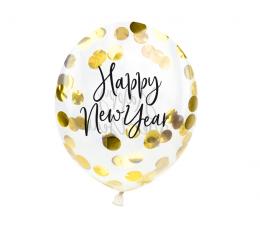 """Õhupallid kuldsete konfettidega """"Happy New Year"""" (3 vnt./30 cm)"""