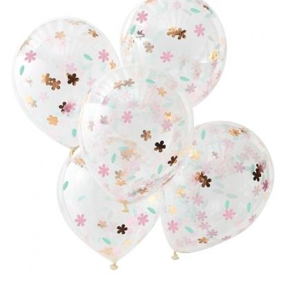 Õhupallid, läbipaistvad lille konfettidega (5 tk / 30 cm)