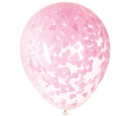 Õhupallid läbipaistvad, roosade südametega  (5 tk / 40 cm)