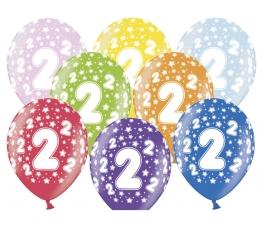 """Õhupallid, värvilised """"2"""" (6 tk / 30 cm)"""