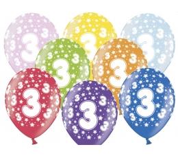 """Õhupallid, värvilised """"3"""" (6 tk / 30 cm)"""
