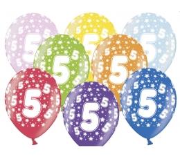 """Õhupallid, värvilised """"5"""" (6 tk / 30 cm)"""