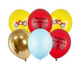 """Õhupallikomplekt 1 -se sünnipäeva jaoks  """"Autod"""" (6 tk / 30 cm)"""