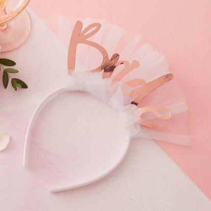 """Peavõru""""Bride"""", valge, roosakas-kuldse kirjaga"""
