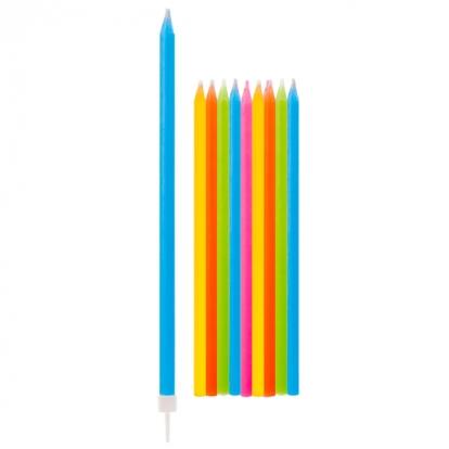 Pikad küünlad, värvilised (10 tk / 15 cm)