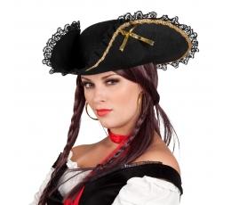 Piraadimüts, kolmnurkne, kaunistatud