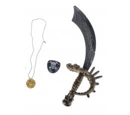 Piraatide komplekt (mõõk, silmaklapp, medaljon)