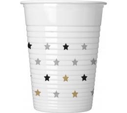 """Plastikust topsid """"Kuldsed-hõbedased tähekesed"""" (8 tk./200 ml)"""
