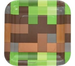 """Popierinės lėkštutės """"Minecraft"""" (8 vnt./23 cm)"""