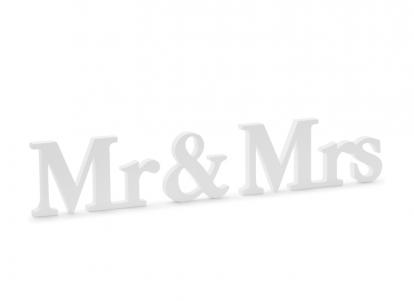 """Puidust lauakaunistus """"Mr & Mrs"""" (9,5 x 45 cm)"""