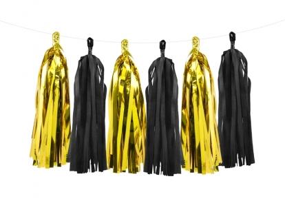 Riputatav dekoratsioon - kuldsed-mustad tutikud (1,5 m)