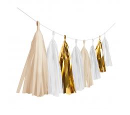 Rippuv dekoratsioon - kuldsed/valged tutikud (3 m)