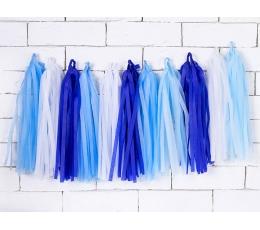Rippuv dekoratsioon - sinised-valged tutikud (1,5 m)