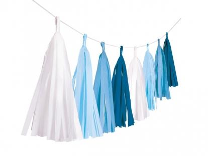 Rippuv dekoratsioon - valged/sinised tutikud (3 m)