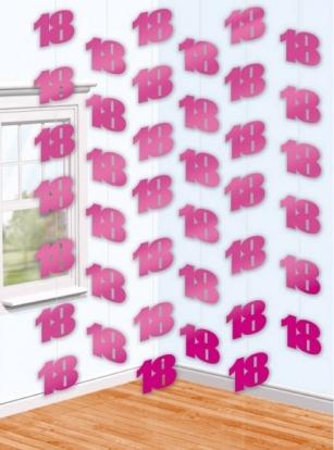 """Riputatav dekoratsioon """"18"""", roosa (6 tk.)"""