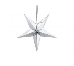 Riputatav dekoratsioon-täht, hõbedaselt läikiv (45 cm)