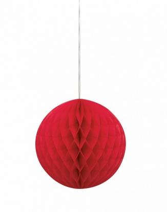 Riputatav paberist pall, punane (20 cm)